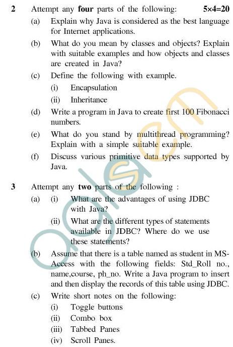 UPTU MCA Question Papers - MCA-403 - Internet & Java Programming