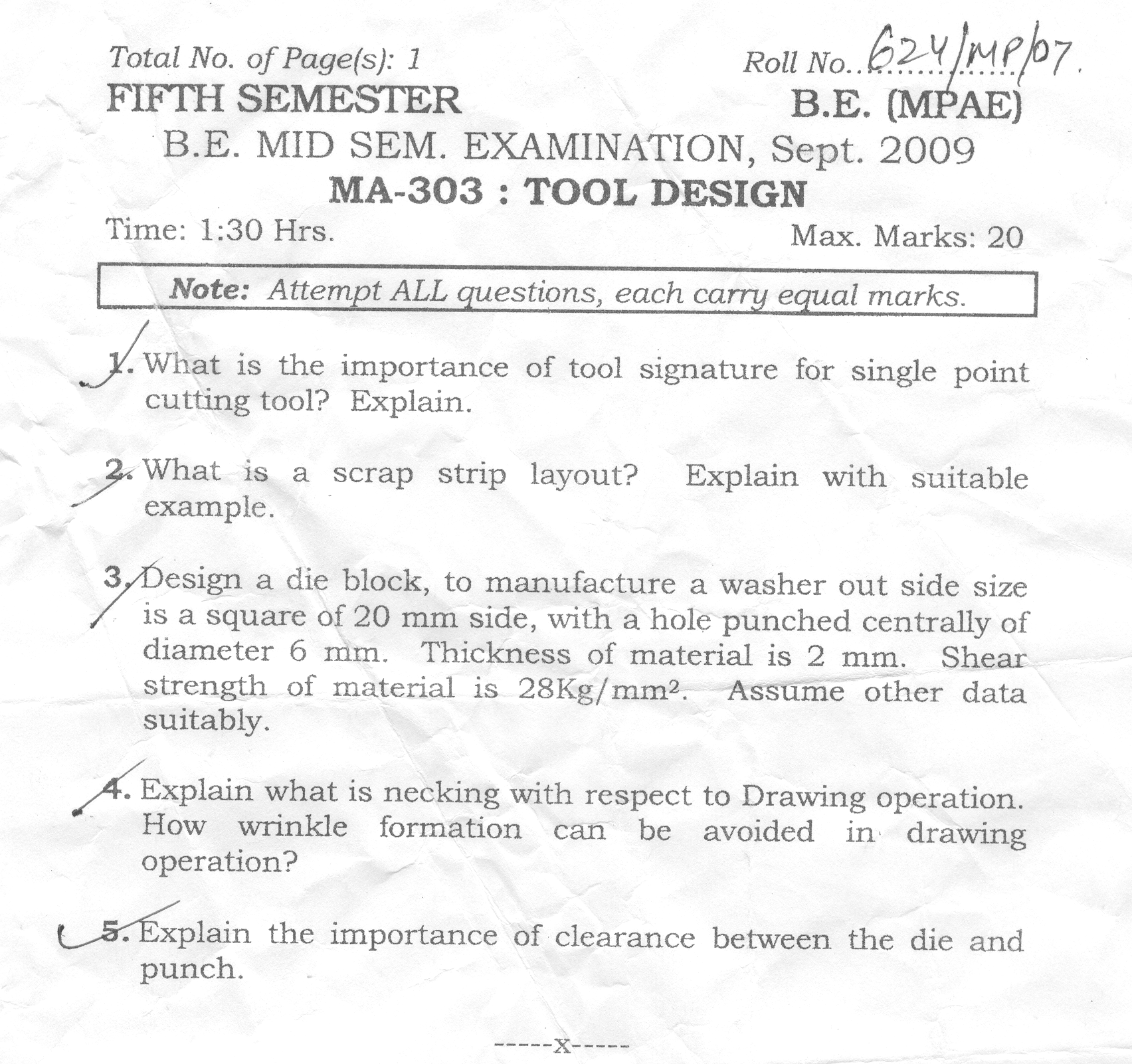 NSIT: Question Papers 2009 – 5 Semester - Mid Sem - MA-303