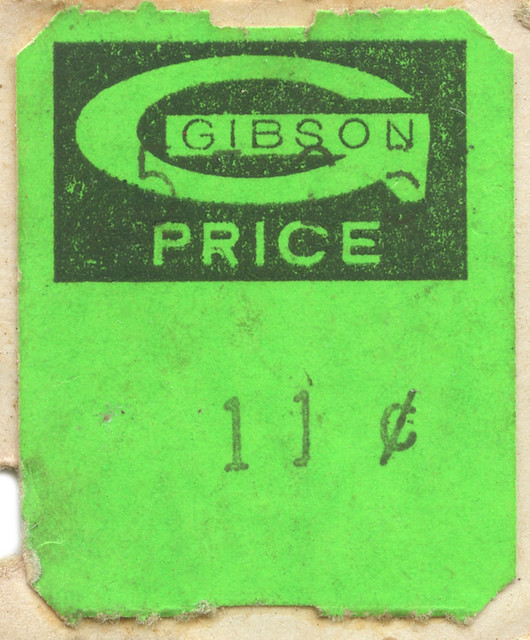 Gibson's Department Store Price Sticker