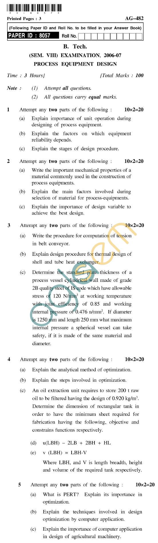 UPTU B.Tech Question Papers - AG-482 - Process Equipment Design