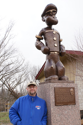 Pat with Popeye Statue, Chester, Illinois