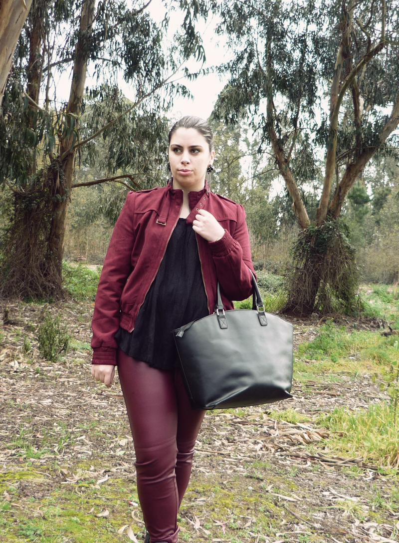 Burgundy outfit with black
