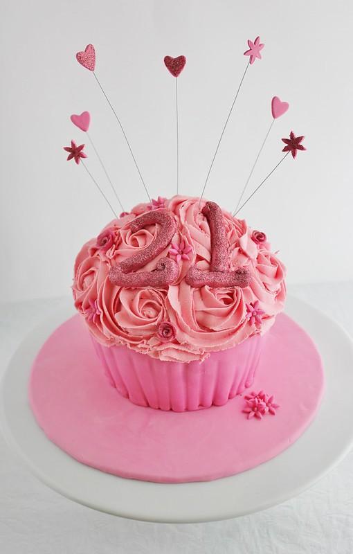 Pink 21st Giant Cupcake Cake