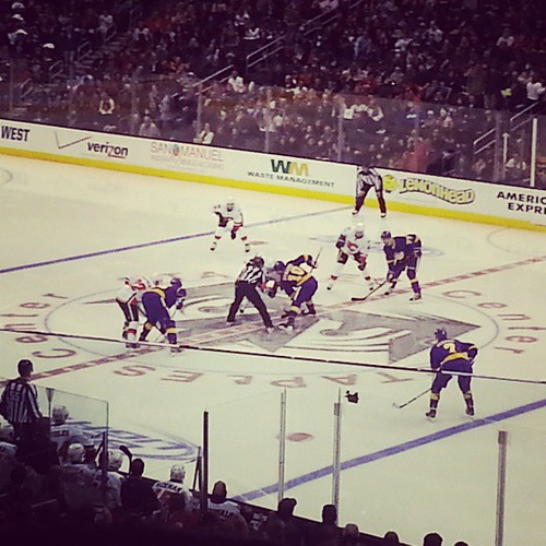 The LA Kings are even wearing my favorite purple sweaters.