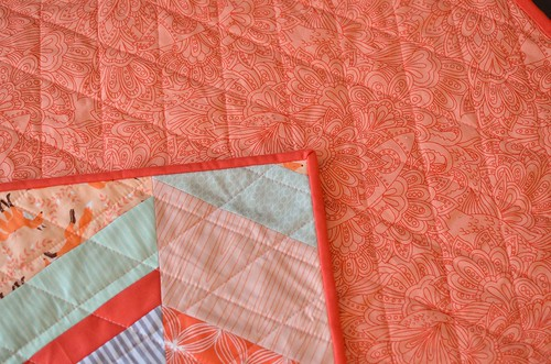 peachy baby quilt closeup