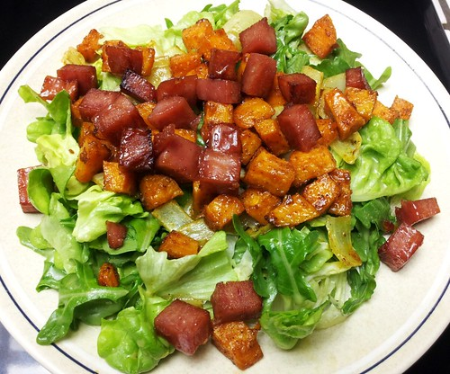 Roasted Yam & Spam Salad with Maple Vinaigrette1