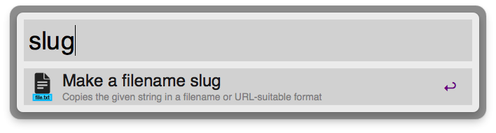 Slug keyword action