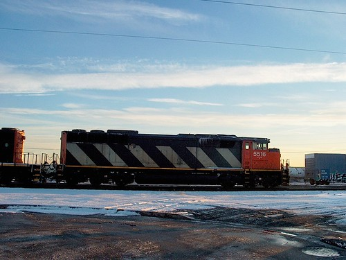 Canadian National locomotives idling at sunset in the former Illinois Central Crawford Yard. (Closed  in 2011)  Chicago Illinois.  February 2007. by Eddie from Chicago