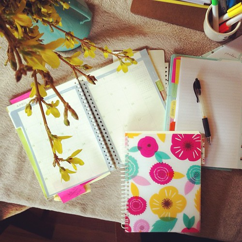 "spring planning/organizing. it's got to be pretty and in the ""right"" notebook so I'll follow through on all my to dos & projects."