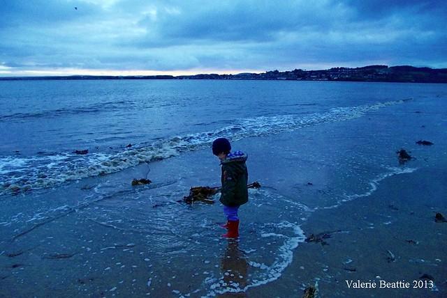 beach january blue sea