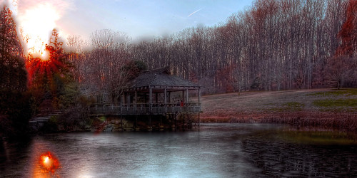 park winter sunset lake cold ice landscape pond wintersunset maryland reflexions teahouse brooksidegardens