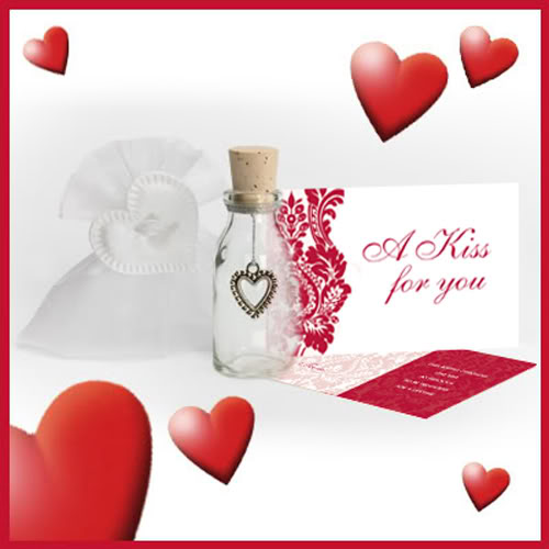 Send Your Kiss - Valentine's Day Heart Card Bottle Gift - I Love You Gift