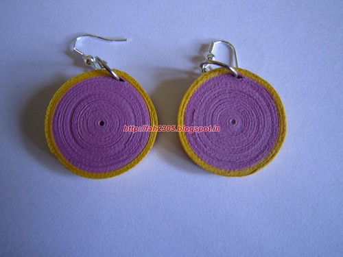Handmade Jewelry - Paper Disk Earrings (Pink & Yellow)  (1) by fah2305