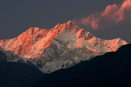 sunset india himalaya sikkim inde kangchenjunga
