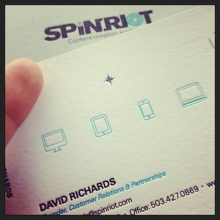 Very excited to be working with the brains over at @spinriot_live on an #analog business card worthy of their well crafted #digital service that will literally change the face of multi-screen authoring.