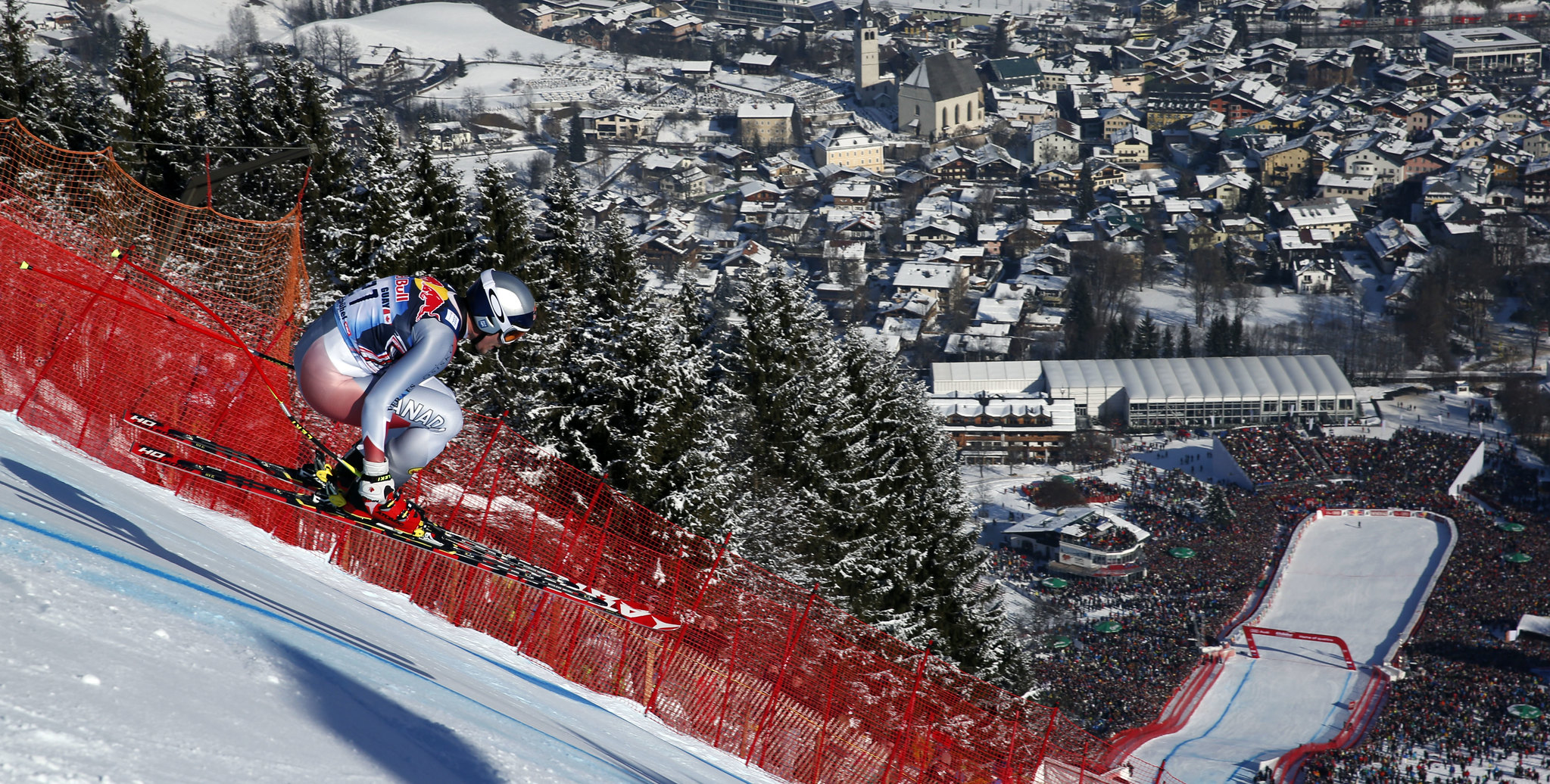 Erik Guay airborne in the Kitzbühel downhill.