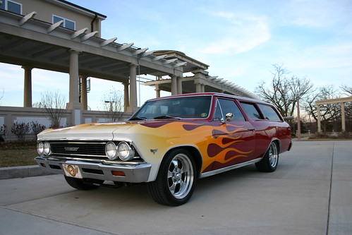 1966 Chevelle Custom 2 door WagonThis 1966 Chevelle Custom 2 Door Wagon was brought to us by it's owner TV show host Chuck Hanson for some custom flames