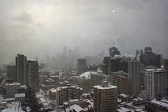 Snowy Dramatic Scene of Toronto Downtown