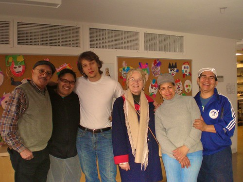 Bríd with some of the staff and residents of Abraham House, New York