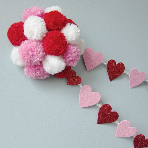 Pom-Poms and Hearts Garland