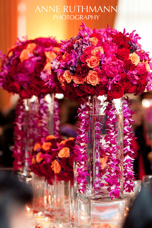 Red Pink Fuscia Rose Orchid Wedding Centerpiece