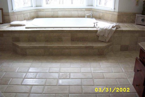 Travertine tile brick style design