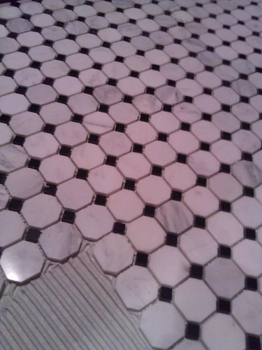 Marble and glass mosaic floor