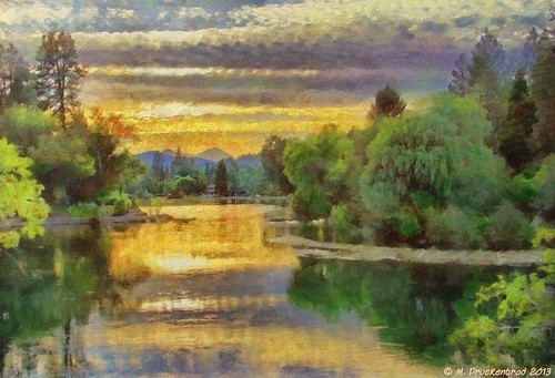 oregon or digitalart scenic computerart bendoregon waterfrontpark cascademountains cascaderange photopainting deschutesriver digitaloilpainting