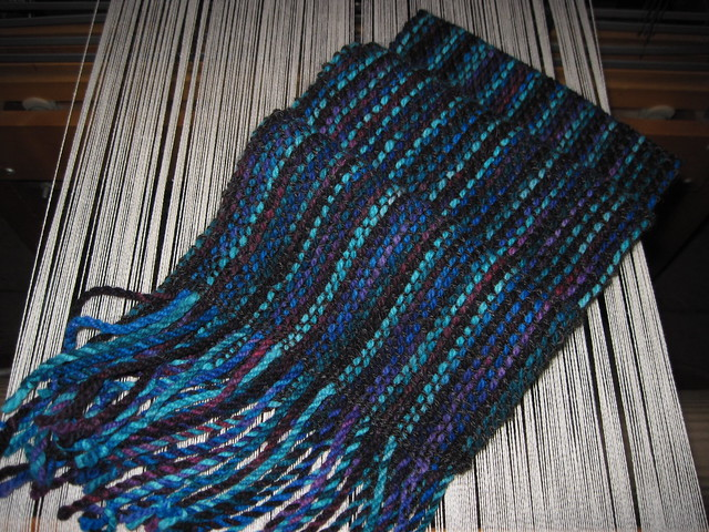Handwoven Scarf - Mosaic Moon Fairy Princess on Cestari Fine Merino and Handspun Black Finn Wool