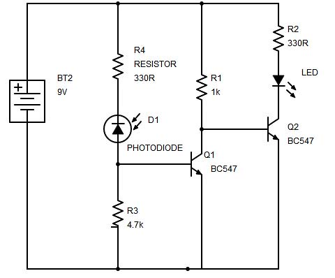 Dark sensor using transistor, phototransistor and photodiode ...