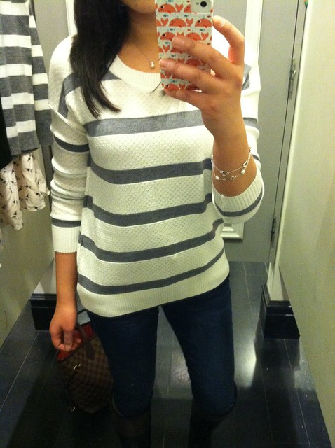 Forever 21 Striped Pointelle Sweater, sz M