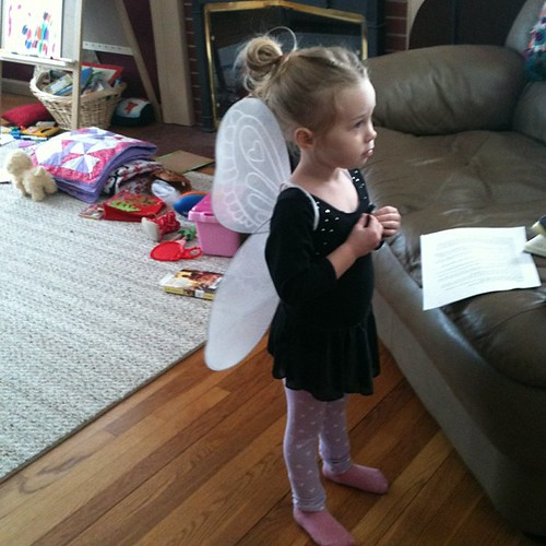 Fairy wings leotard & leggings. I love this kid & her imagination so much!!