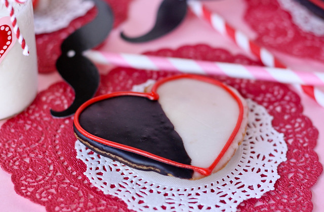 delicious Heart Shaped Black and White Cookies