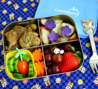Herb Chicken and Potatoes LunchBots Quad Bento