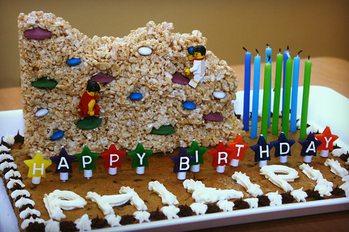 Chocolate chip cookie cake with rice krispy rock climbing wall