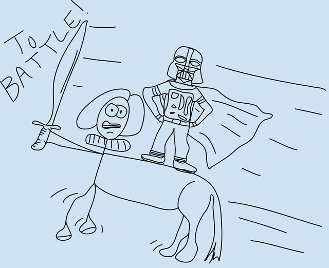 Darth Vader Rides a Centaur Into Battle