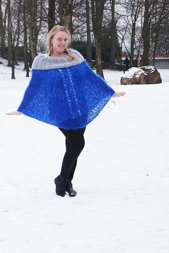 Blue Fluff Poncho