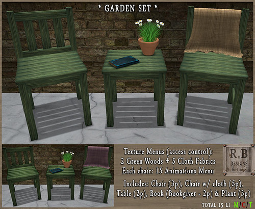 100L$ NEW ! *RnB* Garden Set - Old Green Woods