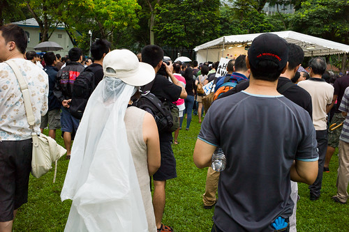 At first I thought a bride had come to join in the protest!