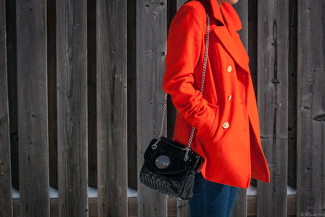 orange peacoat chain purse