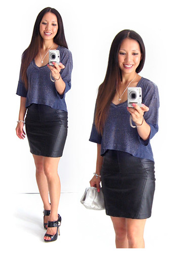 Splendid Top and Leather Skirt