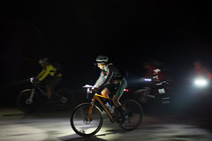 Bright lights and a fast ride on a packed sand road
