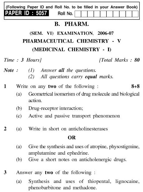 UPTU B.Pharm Question Papers PH-361 - Pharmaceutical Chemistry-V (Medicinal Chemistry-I)
