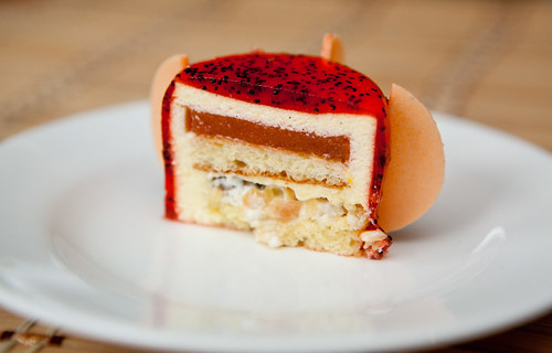 Cross section of the blood orange poppyseed cake