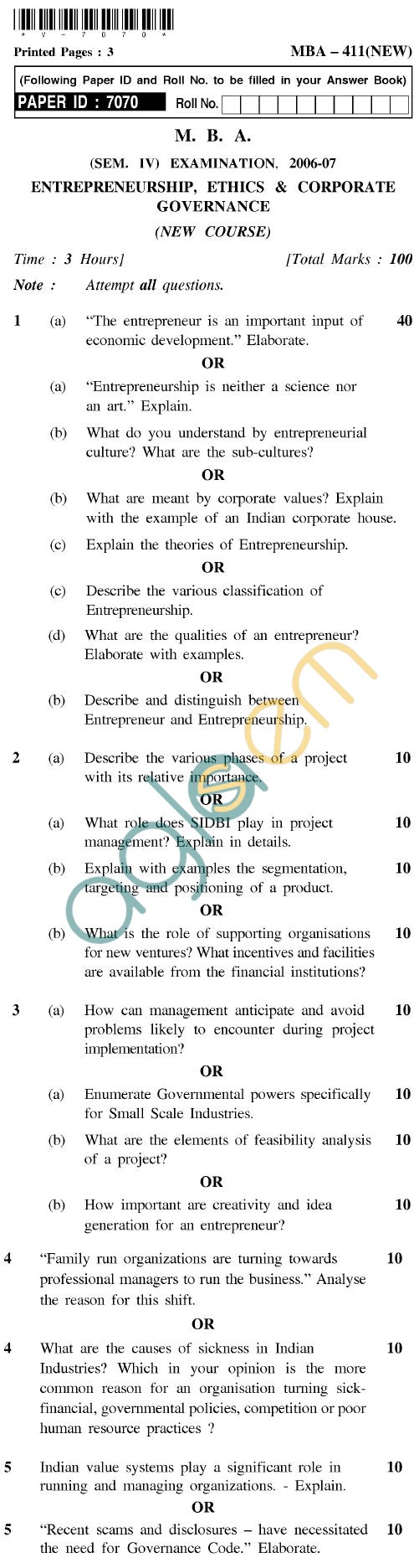 UPTU MBA Question Papers - MBA-411 (New)-Entrepreneurship, Ethics & Corporate Governance (New Cource)