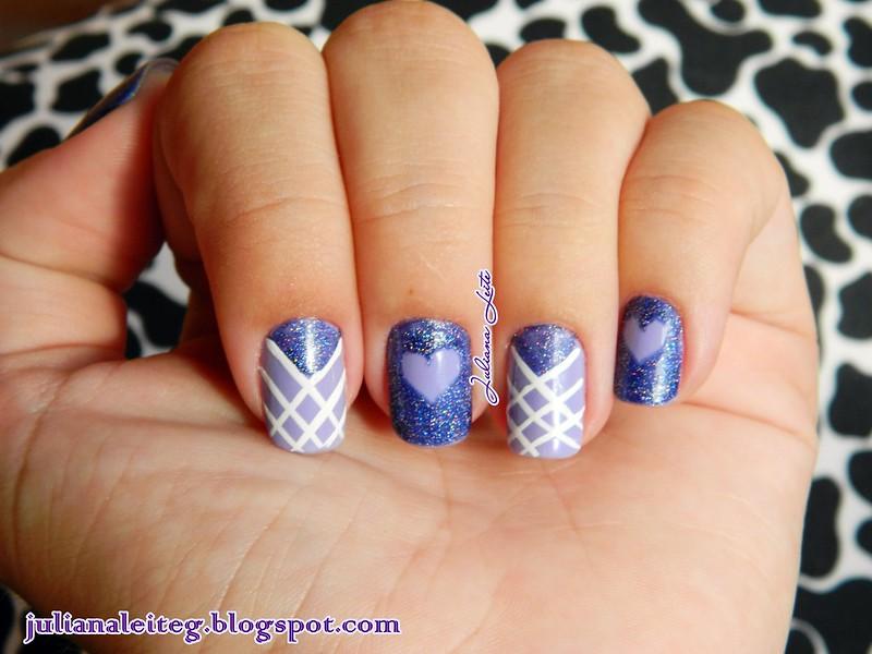 nail art juliana leite lilás amor love coração glitter decorada 016