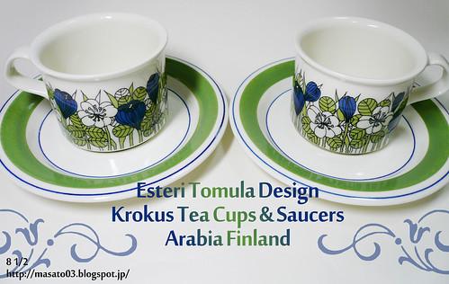 ARABIA FINLAND KROKUS Tea Cups with Saucers