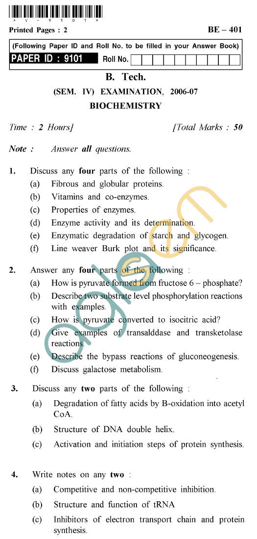 UPTU B.Tech Question Papers - BE-401 - Biochemistry