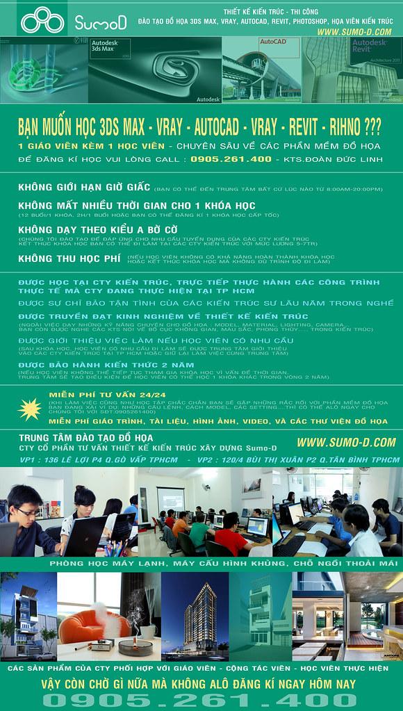 Dạy học 3d max, Vray, Autocad, Revit, Rihno, đào tạo họa viên kiến trúc tại TP
