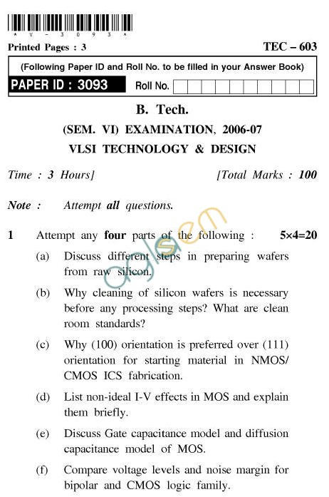 UPTU: B.Tech Question Papers - TEC-603-VLSI-Technology & Design
